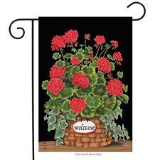 "Welcome Geraniums Summer Garden Flag Floral Basket 12.5"" x 18"" Briarwood Lane"