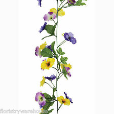 Artificial Pansy Garland Purple and Yellow 180cm/6ft Hanging Basket