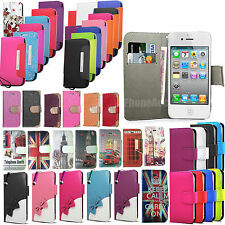 Flip Wallet  Leather Case Cover Pouch For Apple IPhone 4 4S 5 5S 5C