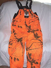 Mens 2X Insulated Bib Overalls Orange Camo Hunting Waterproof Bibs Realtree Camo