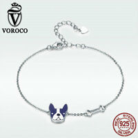 Voroco Bulldog 925 Sterling Silver Charm Bracelet Chain Cute Women New Jewelry
