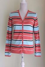 SIZE 10 RACING GREEN Striped Cardigan Soft Orange and Blue (62)