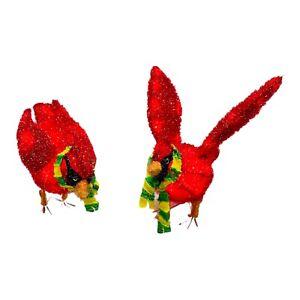 Tinsel Set Of 2 Cardinal Birds Sculpture Lighted Xmas Decoration Indoor Outdoor
