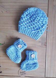 Blau/handgefertigter Doppel Strick Baby Set Mütze und Booties 0-3 ALLINONE