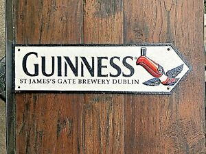 Guinness Toucan Road Sign Logo St James's Gate Brewery Dublin Cast Iron Plaque