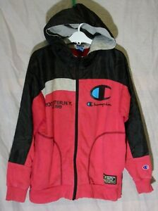 Boys Champion USA Red Black Logo Sleeve Hooded Jacket Hoodie Age 11-12 Years