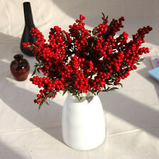 Christmas Red Fruit Berry Artificial Flower Bouquet Home Party Decoration