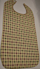 24 Adult Bibs Clothing Protector Tan Green Red Plaid Senior Elderly Large 18x34