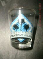 """""""THERE'S NO PLACE LIKE BEVERLY HILLS"""" Shot Glass w/ gold rim EUC"""
