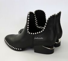 NEW ALEXANDER WANG Kori Studs Ankle Bootie, EUR 37, Black Leather