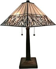 Amora Lighting AM303TL14 Tiffany Style White Floral Mission Table Lamp 22 Tall