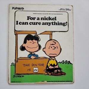 Vintage Playskool Wooden Puzzle Peanuts Charlie Brown Comics Lucy Some Wear USA