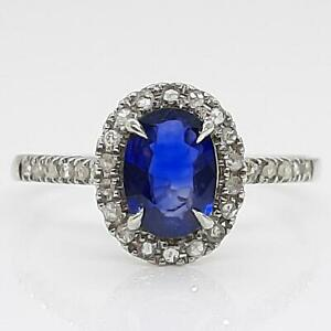 $1,199 Solid 14K White Gold .99ctw Blue Sapphire & I-SI Diamond Ring Size 7.5