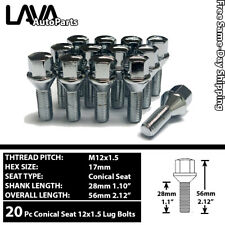 20PC CHROME 12X1.5 CONICAL SEAT LUG BOLT 28MM SHANK FIT BMW/MINI/SAAB/LOTUS/MORE