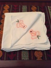 "Lot Of 8 Vintage Hand Embroidered 15"" X 15"" White Napkins"