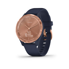 Garmin Vivomove 3S Rose Gold with Navy Blue Case and Band Hybrid Smartwatch