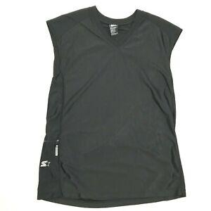 Starter Mens Black Sleeveless Basketball Athletic Tank w Phone pocket Size M