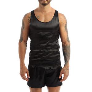 Mens Silky Satin Sleepwear Short Sleeve T-shirt Shorts Pajama Set Loungewear