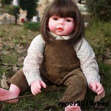 22in. Handmade Silicone Vinyl Reborn Baby Girl Doll Lifelike  Newborn Dolls toys