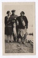 PHOTO ANCIENNE Pêche à la ligne Rivière Pêcheur Amateur Poisson 1930 Trophée de