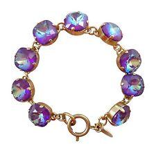 "CATHERINE POPESCO 12mm Ultra Purple Swarovski Crystal Gold Bracelet 7.5"""