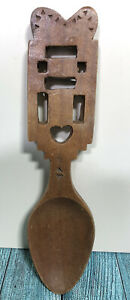 Vintage Hand Carved Large Wooden Welsh Love Spoon