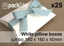x25 WHITE GLOSS PILLOW BOXES JUMBO wedding favour bomboniere - 180 x 160 x 40mm