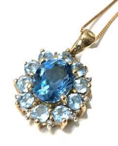 "Fine Quality 10K Yellow Gold London Blue Topaz Aquamarine 20"" Halo Necklace"