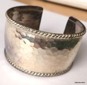 Vintage Bracelet MARKED 925 STERLING SILVER Modernist Cuff BIG Wide Lot y