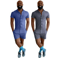 Men Casual Short Sleeve Chambray Jumpsuits Short Trouser Pant Male Rompers Slim