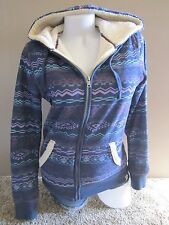 Nollie Purple Printed Zip Faux Fur Thick Hoodie Jacket Size M