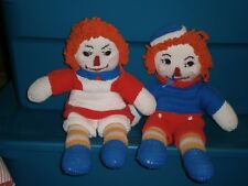 Vintage Raggedy Ann & Andy Crocheted Doll Set 19 inch Nice!