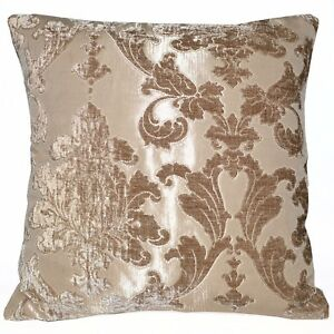 vb03a Frosted Almond Flower On Tobacco Brown Thick Cotton Blend Cushion Cover