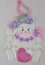 Baby's 1st Christmas Snowman Pink Girl Ornament