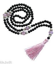 Collana Mala Rosario 108+1 in pietra lavica lava cristalli rosa e perle -  Nepal