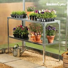 Garden Grow 2 Tier Galvanised Staging Work Bench Greenhouse Plant Storage Shelf