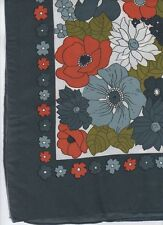Vintage Large SCARF - Floral design- Polyester - Taiwan - Rain Fold Inc