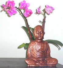 MS Meditating Monk Hand Carved Wood 6 inches Fair Trade Bali Indonesia