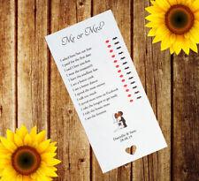 Personnalisé Mariage M. ou Mme cartes x12 Table de jeu faveur je Lunettes Adulte MM2