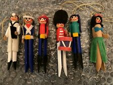 Vintage Clothes Pin Holiday Ornament Figurines (Qty 6)