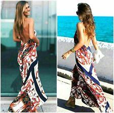 🌸  ZARA LONG DRESS RED NAVY BLUE WHITE DRESS SCARF PRINT MAXI DRESS SIZE M NEW