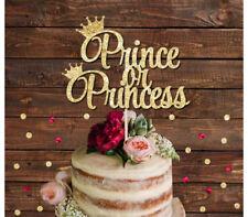 PRINCE OR PRINCESS GLITTER CAKE TOPPER, GENDER REVEAL BOY OR GIRL BABY SHOWER