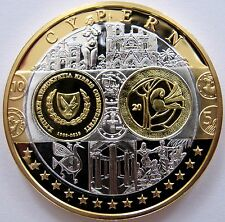 Superbe Médaille  argent et Or - Chypre - première frappe en Euro - BE