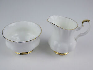 Creamer + Sugar Bowl Albert Val D'or dor vintage bone china England