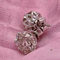 4.00Ct Round Brilliant Cut Diamond Solitaire Stud Earrings 14K White Gold Finish