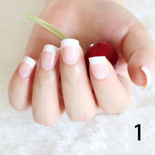 24Pcs Lady Women's French Style DIY Manicure Art Tips False Nails with Glue tbus