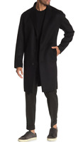 Theory Wool Cashmere Solid Black Top Over Coat Size Large Retail $895 NWT