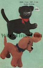 Vintage Knitting Pattern Cat/Kitten & Dog/Puppy Toy.  DK Wool.
