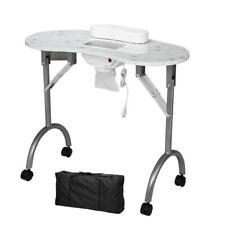 Rolling Portable Manicure Nail Table Station Desk Beauty Salon Equipment w/Fan