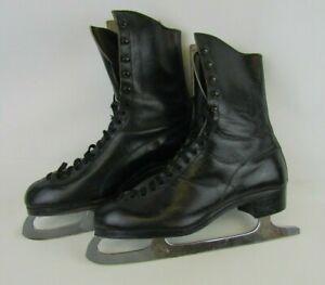 Vintage black star silver blades ice skates UK 9.5 great antique cond
